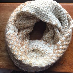 Never worn Old Navy white and tan infinity scarf!
